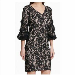 NWT DKNY Ruched Sleeve Lace Sheath Dress